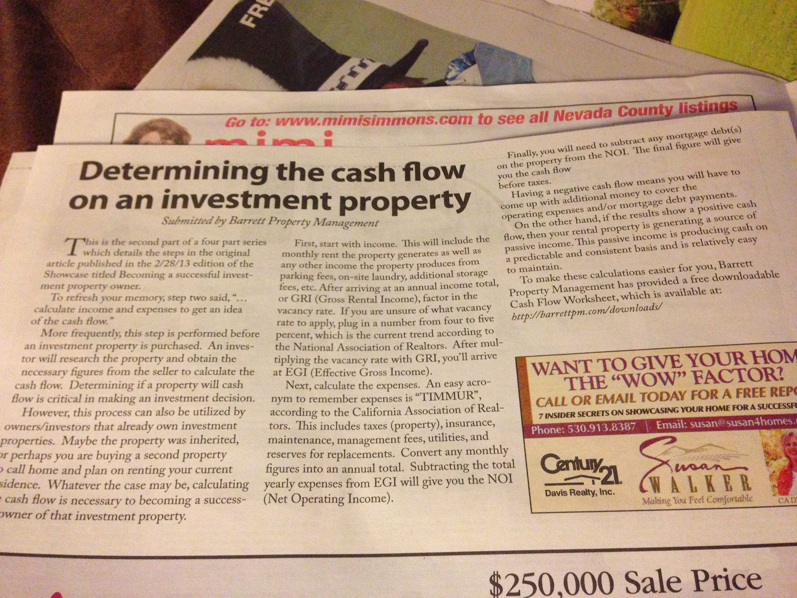 "Amelia's article ""Determining the cash flow of an investment property"" was featured in the 3/28/13 edition of The Union's Real Estate Showcase"
